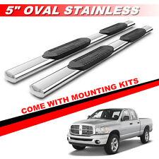 "5"" Chrome Oval Running Boards For 2002-2008 Dodge Ram 1500 Quad Cab Side Steps"