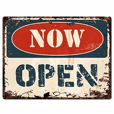 PP1360 OPEN NOW Plate Rustic Chic Sign Home Room Store Shop Decor Gift