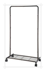 Heavy Duty Commercial Garment Rack Rolling Collapsible Clothing, Wheels, Bronze