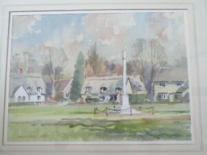 David Green-Bedfordshire artist-framed watercolour-''Cottages on Ickwell Green''