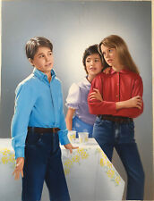 """PHOTOREALIST AIRBRUSH PAINTING ON BOARD SIGNED """"RIBES"""" FLIRTING TEENS '70s THEME"""