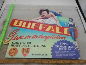 VINTAGE Sign Buffalo Denim Jeans Die Cut STORE Counter Display Advertising