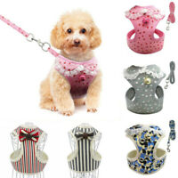 Breathable Mesh Small Dog Pet Harness Leash Set Puppy Vest For Dog Cat Clip US