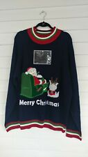 Skedouche Mens 3XL Ugly Christmas Sweater Santa Recliner Add Photo NWOT