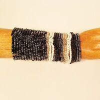 Set of 2 Black White Multi Strand Handmade Cleo Stretch Seed Bead Bracelets
