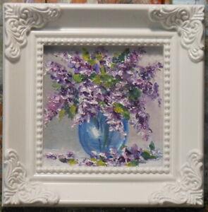 Lilacs 3x3 framed original oil painting Celene Farris Maine. flowers, miniature