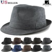 Fedora hat - Faux Suede Wool Blend Trilby Fedora Hats