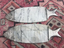 2 Vintage Marble Fish Platter & Cutting Board