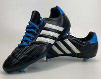 Adidas Black Blue Leather White Stripe Football Boots 753002 Size UK 12 EU 47