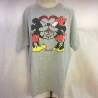 Disney Florida Mickey & Minnie Mouse Kissing Glitter Heart Gray Womens Tshirt XL