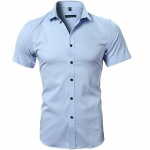 Luxury Mens Formal Slim Fit Short Sleeve Casual Shirts Bamboo Fiber Tops S-2XL Z