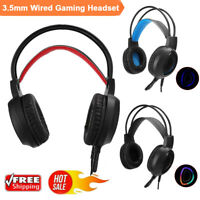 Wired LED Gaming Headset Stereo 3.5mm USB Mic Headphone V1000 RGB for PC Laptop