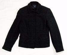 Ann Taylor women's wool jacket black size 6 hidden button front lined