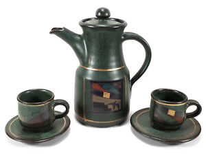 VINTAGE DANISH MODERN STYLE STONEWARE POTTERY COFFEE POT CUPS & SAUCERS GREEN