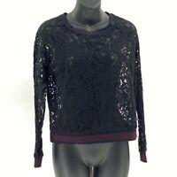 Harlowe & Graham Top Black Lace Long Sleeve sz S Small