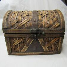 Decorative Wooden Woven Look Jewelry Trinket Treasure Chest 7 x 5 x 5 1/2