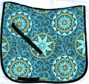 "/""BLUE SILVER/"" TAPESTRY CHENILLE BAROQUE DRESSAGE SADDLE PAD"