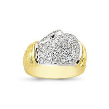 9CT GOLD SOLID CUBIC ZIRCONIA BOXING GLOVE CZ SHOT KNOT RING BAND BOXED