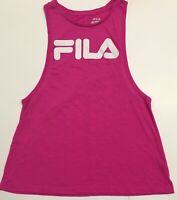 FILA Womens workout running PINK muscle shirt BIG front LOGO SZ.Medium euc