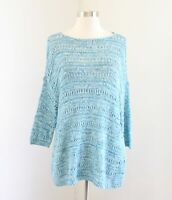 NWT Pure Jill J Jill Aqua Blue Open Knit Crochet Pullover Sweater Size M