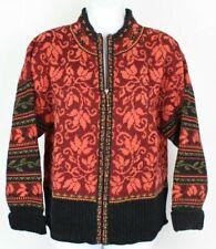 Icelandic Design womens large burgundy red black wool full zip cardigan sweater