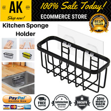 Kitchen Sponge Holder Sink Caddy Brush Soap Drain Basket No Drilling & Falling