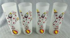 Vintage set of 4 Tom Collins Mid Century Circus Clown Tumbler Drinking Glass