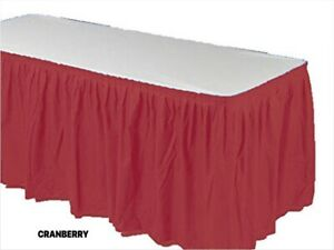 """Table SKIRT 14 ft x 29""""  Pleated Plastic Disposable Waterproof Choose Color"""