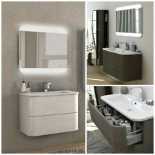 Mobile arredo bagno Angel 80 100 cassetti lavabo mineralmarmo bianco rovere|35