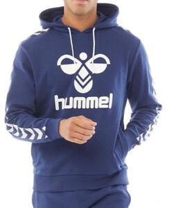 Hummel Mens Large Logo Hoodie Blue/White Sizes new