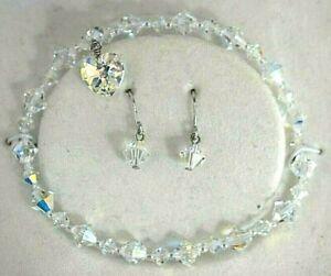 Crystallized Swarovski Elements Aurora Borealis Heart Bracelet Earrings Sterling