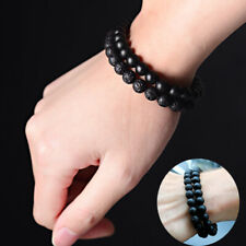 Men Women 8MM Black Onyx Lava Stone Yoga Mala Beaded Charm Chain Wrist Bracelets