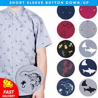 Visive Original Shark Printed Short Sleeve Button Down Fish Shirts Size S - 4XL