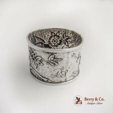 Aesthetic Bird Floral Repousse Hammered Napkin Ring FWTT Sterling Silver 1892