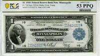 1918 $1 Fr. 736 Minneapolis Scarce Federal Reserve Bank Note PCGS AU 53 PPQ 3692