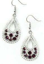 Paparazzi Earrings ~ Sparkling Stardom ~ Purple & White Rhinestones in Silver