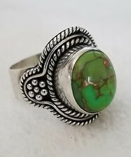 Ladies Lime Green Turquoise Ring ~ 925 Sterling ~ Oval Dome ~ sz 6.5 Rare Stone