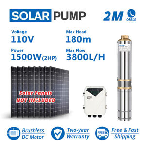 3inch Deep Well Solar Bore Pump 110V 2HP Submersible DC + MPPT Controller 180m