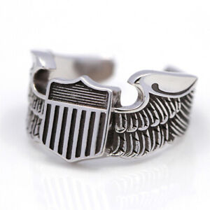Men`s WWII US Army Air Force Pilot Eagle Wings Silver Jewelry Ring