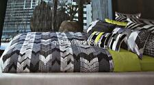 QUEEN KAS Chevron 100% COTTON SATEEN 375 TC Quilt Cover Set Black White Grey