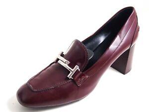 Tod's TT Med Heel Pumps Burgundy Leather Women Size US 12 EU 42