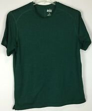 Mens REI Shirt Large Short Sleeve Crew Green Polyester