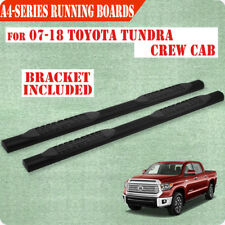 """Fit 2007-2020 Toyota Tundra Crew Max 4"""" Running Boards Nerf Bar Side Step BLK A"""