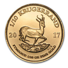 2017 1/10 oz Gold South African Krugerrand Coin Brilliant Uncirculated BU