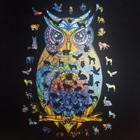 USA Amazing Wooden Jigsaw Puzzle Magic Owl Unique Shape Ideal Gift Adult Kid Toy
