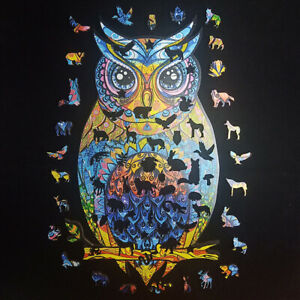 Wooden Jigsaw Puzzle Magic Owl Unique Shape Adults Kids Xmas Toys Ideal Gifts