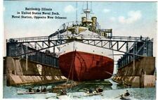 Postcard - 157a Battleship Illinois at Naval Station New Orleans, LA