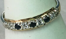 925 STERLING SILVER & 9CT GOLD VINTAGE INSPIRED 1/2 ET CZ & SYNTHETIC SAPP RING
