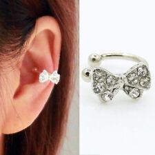 1Pc Korea Silver Bowknot Bow Rhinestone Crystal Lady Ear Bone Clip Earring New