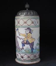 Large Early Austrian Faience Beer Stein Gmunden Occupational Wood-Cutter c.1830